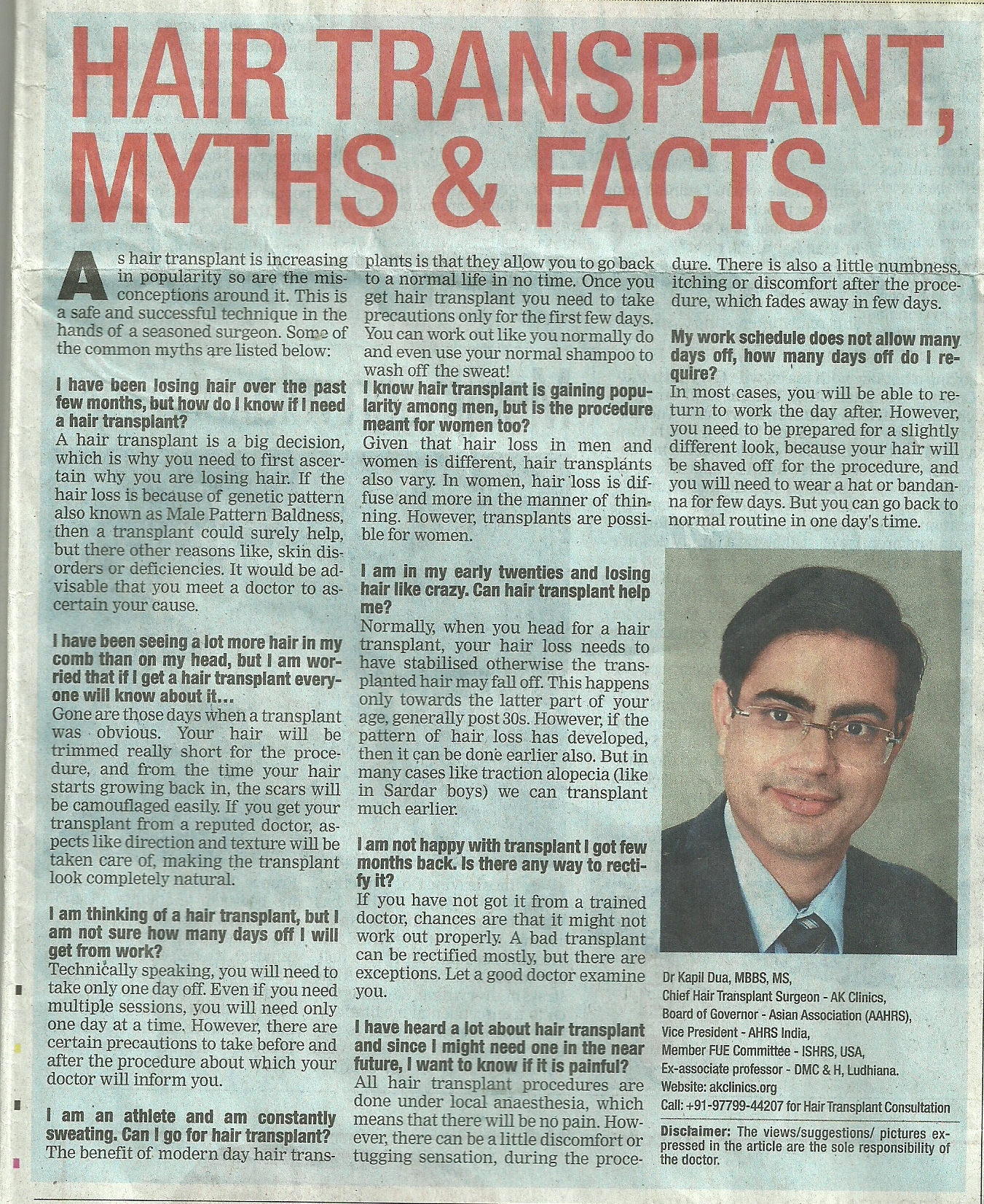 hair transplant myth and facts