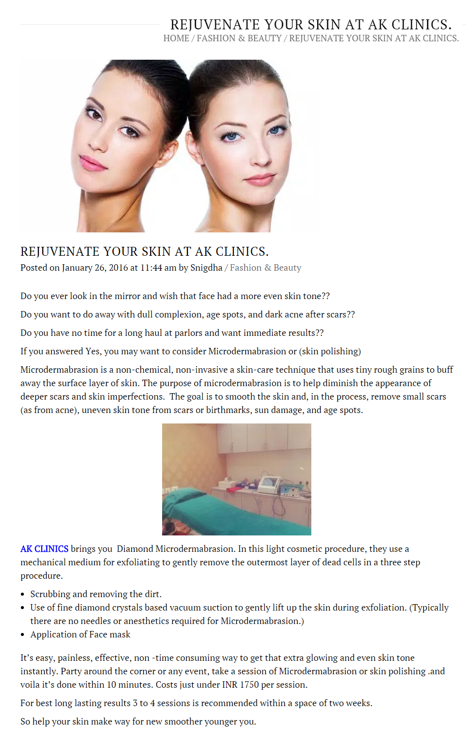 rejuvenate your skin at Ak Clinics review